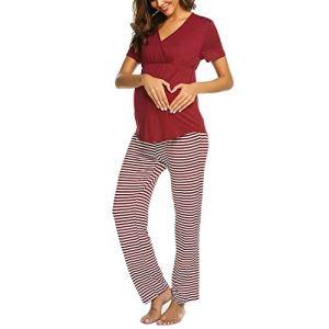 LianMengMVP Ensembles De Pyjama d'allaitement pour Grossesse Femmes Maternité Col en V T-Shirt d'allaitement + Pantalon à Rayures Confortable