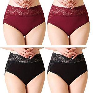 Serecofo Lot de 4 Culottes Slips Femme Taille Haute Dentelle Grande Taille Disponible Ultra Elastique et Confortable (FR 40-44: Tour de Taille 78-85cm, 2 Bordeaux, 2 Noir)