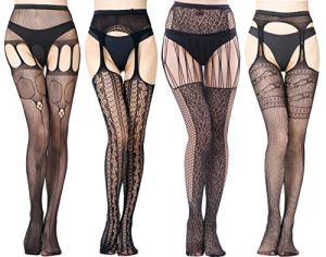 Vellede Collant Resille Ouvert Pantyhose Lingerie Sexy Collants Noir 4 Pack