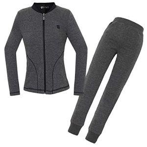 DZX Ensemble Vêtement Chaud électrique/sous-vêtement Thermique pour Femmes (Lavable) avec Câble USB (Gris/Noir),Grey-M