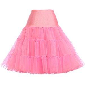 GRACE KARIN Vintage Femme Jupon Annee 50 Rockabilly sous Robe Rockabilly en Tulle Petticoat Rose 3X CL8922-5