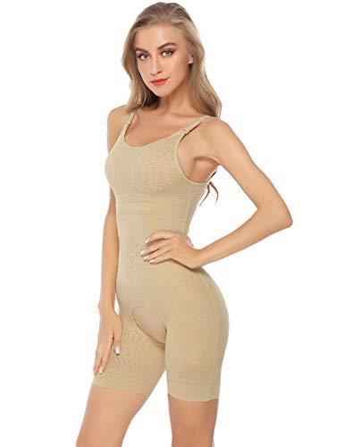 Hawiton Femme Gaine Amincissante Body Gainant Ventre Plat Lingerie Gainante Minceur Combinaisons Sculptantes Beige L/Tour de Taille:74-80cm, Poids:60-70kg