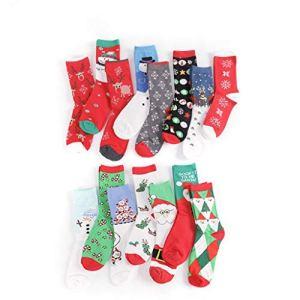 Kbcigwxxs Chaussettes En Coton 10Pack Thermiques Hiver Chaud Noël Chaussettes Femme Adulte Dessin Animé Unisexe Chaussettes Décontractées Confortable