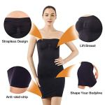 +MD Robe Bustier Gainante Effet Sculptant Femme Combinaisons Sculptantes Shapewear Black2XL