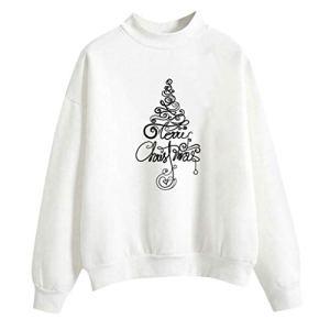 OPALLEY Femmes de Noël Impriment la Longue Manche O-Cou Chemisier Pull-Shirt de Couleur Pleine Tops – Sweatshirt Hiver Pas Cher Chic Casual Coton Blouses