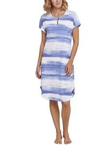 Schiesser Nachthemd 1/2 Arm, 100cm Nuisette, Blau (Indigo 824), 42 Femme