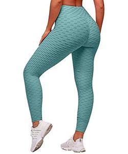 Uniquestyle Leggings de Compression Anti-Cellulite Slim Fit Butt Lift Elastique Pantalon de Yoga Taille Haute Sport pour Femmes (Menthe, L)
