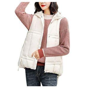 Qikoup Gilets Femme Couleur Unie sans Manches Col Debout Doudoune Blouson Jacket Coats Tops Cardigan Outwear Hiver