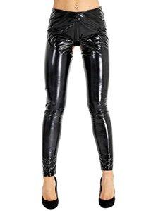 Agoky Femme Noir Longue Pantalon Leggings PU Cuir Latex Brillante Collants Érotique Ouverte Entrejambe Fesse sous-vêtement Club Fête Soirée Long Pants Trousers S-XXL Noir L