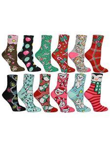 Betsey Johnson Women's 12PK Assorted Christmas Crew Socks in an Advent Box BJ45395, Multi, One Size