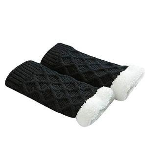 Bottes courtes pour femme en tricot au crochet Noir 3