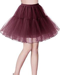 Bridesmay Jupon Tutu Petticoat pour Robe Femme Vintage années 50 Pin Up Robe de Soirée Cocktail Cérémonie Rockabilly Couleurs variées Burgundy M