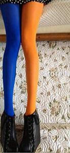 Bylydeco-deco Collants Femme Femmes Printemps Automne Collants Asymétrie Contraste Couleur PantyLadySexy Bas Tight-Orange_Blue_One_Size