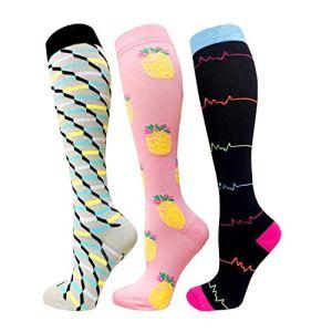 Chaussettes de compression pour femmes et hommes – Meilleur médical pour la course, les soins infirmiers, la circulation et la récupération, les voyages et les chaussettes d'avion-20-25 mmHg
