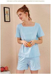 Chunjiao Ensembles Pyjamas d'été, la mode d'été des femmes est deux pièces Pyjama à manches courtes Shorts grande taille peut être porté à l'extérieur Loisirs Pyjama Accueil Vêtements, Bleu clair, L P