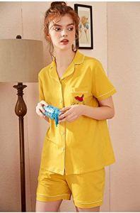 Chunjiao Pyjamas d'été, la Mode été Femme est lâche Deux pièces Pyjama à Manches Courtes Shorts de Grande Taille Loisirs Pyjama Accueil Vêtements, Jaune, XXL Pyjamas d'été Mode