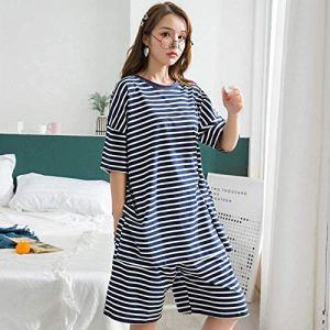 Chunjiao Pyjamas d'été, Le Printemps et l'été des femmes'S Coton à Manches Courtes Shorts Pyjama Belle Stripes Accueil Femmes Vêtements Costume Deux pièces de Nuit, Marine, Taille Pyjamas d'été Mode
