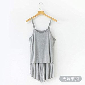 Chunjiao Pyjamas d'été, l'été des femmes'S Coton à Manches Courtes Shorts Pyjama Accueil Femmes Vêtements Costume Deux pièces de Nuit, Gris Clair, XL Pyjamas d'été Mode