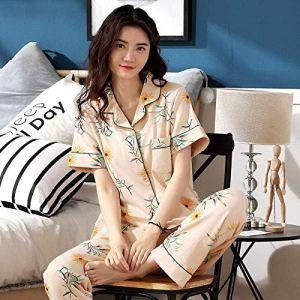 Chunjiao Pyjamas d'été, l'été des femmes'S Pyjama en Coton à Manches Courtes Pyjama Loisirs Gilet Pantalon Lapel Sweet Home Vêtements Deux Pièces de Nuit, Jaune Clair, XXL Pyjamas d'été Mode