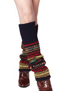 DELEY Hiver Femmes Mesdames Bohemian Crochet Knit Jambières Mode Boot Socks Bleu Marin
