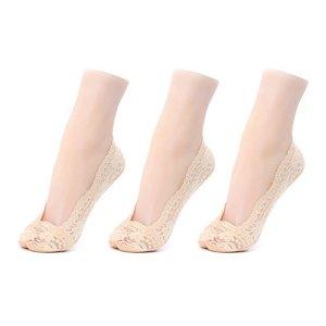 GATHER OTHER Lot de 3 Paires Chaussettes Invisibles Femme en Coton et Lace Dentelle Protège Pied Elastique avec Silicone Anti-Dérapant Beige