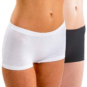 HERMKO 5700 Pack de 2 Pantys en Coton Souple/élasthanne Femme, Taille:42/44 (M), Couleur:Blanc/Noir