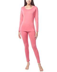 LAPASA Ensemble de sous-vêtement Thermique Femme Doublure Laine Polaire Chaud LÉGER/ÉPAIS Haut Bas L17/L41/L44 – L17: Rose (Léger/Droit) – 44/XXL