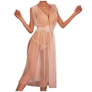 LianMengMVP Fashion Sexy Temptation Racy Erotic Underwear Manche Courte Longue Robe Nuisette Femmes Dentelle Perspective Sexy Dentelle Mode Robe avec G String