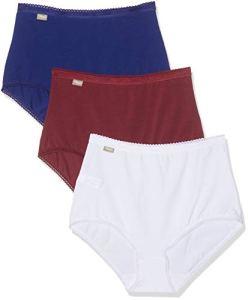 Playtex Coton-Culotte Maxi 2+1 Gratuit, Multicolore (Blanc/Bleu Intense/Rouge Romance 0bb), 44 (Lot de 3) Femme
