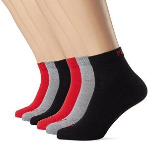 Puma Quarter Chaussures 6paires de chaussettes taille 35-49Unisexe pour Homme füßlinge Femme, rouge/noir, 43-46 EU