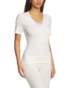 Susa Angora Spenzer s8010820 – Haut thermique – uni – Femme – Blanc (Wollweiß S115) – 46 (Taille fabricant: L)