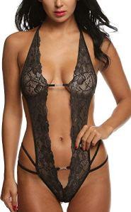 UMIPUBO Lingerie Dentelle Femme Sexy Pyjama Siamois Dos Ouvert sous-Vêtements Poitrine Basse Vêtements de Nuit Body Nuisette Impression Lingerie De Nuit