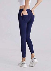 WUANNI Legging Femme Pantalon éLastique Sexy Slim Gym Jog,Pantalon de Fitness Collant Stretch Stretch Double Hanches pour Femmes-Dark_Blue_L