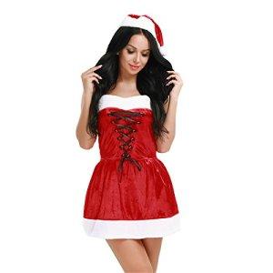 YiZYiF Déguisement Mère Noël Femme Adulte Costume Complet Robe avec Bonnet et G-string Rouge (Taille unique, Rouge)