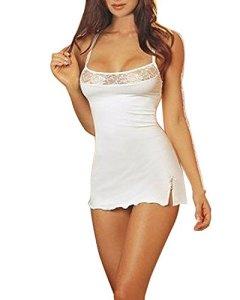 ZANZEA Femme Sexy Dentelle Nuisette Ensemble 1 Vest + 1 String Lingerie Blanc FR 42/Etiquette Taille XL