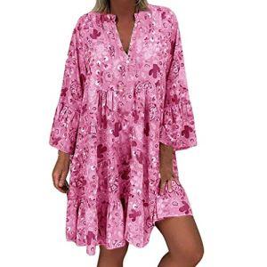 Grande Taille Robes FNKDOR Femmes Épaules dénudéesImprimé FloralManche Longue Irrégulier DécontractéeRobe Vintage Manches Courtes (E Rose vifS)
