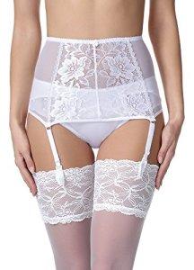 Merry Style Porte-Jarretelles en Dentelle Lingerie Sexy sous-vêtement Femme MSKS912 (Blanc, S)