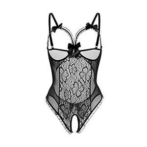 DFYAI Bodys Sexy Femme sous-VêTements Nuisettes DeshabilléS Ensembles de Lingerie Erotique Chemises de Nuit VêTement de Nuit Dentelle Babydolls,Noir,XL