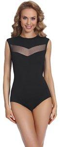 Merry Style Body Sexy sans Manches sous-vêtements Lingerie Femme BD111 (Noir, XL)
