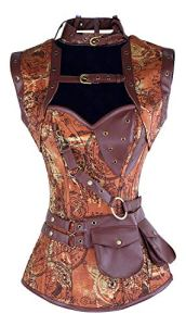 Charmian Women's Steampunk Goth Retro Spiral Steel Boned Corset with Jacket Light Brown Large