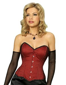 Vollers Fishnet Black and Red Satin Overbust Corset V1106 18″