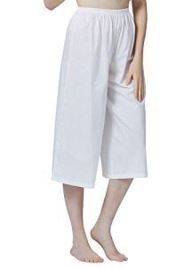 BEAUTELICATE Jupe Culotte Bouffante Femme 100% Coton Short sous Jupe Victorien Pantalon de Pyjama Court Pantacourt Ample Taille Élastique Ivoire