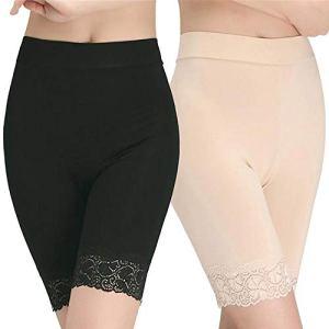 Femmes Panty Coton Femmes sous Jupe Shorts Pantalon De Sécurité Doux Stretch Dentelle Garniture Leggings Short(Beige+Noir)