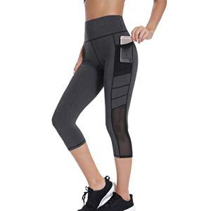 Joyshaper Legging 3/4 avec poches pour femme Taille haute Contrôle du ventre Pantalon de yoga court Gym Leggings Collants – – XXL