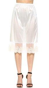 Melody Extension de sous-jupe en satin pour femme – Blanc – Small
