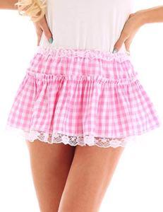 TiaoBug Mini Jupe Femme Respirant Lingerie Serré Extensible Jupon Courte Jupe de Nuit Jupe pour Clubwear Danse Bal (M, B Rose)