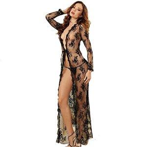Yuefensu Femmes Sexy Pyjama sous-vêtements Sexy De Grande Taille for Femmes, Dentelle Et Maille Sexy, Longue Robe De Nuit À Manches Longues Pyjama col en V pour Les Femmes (Size : XXXL)