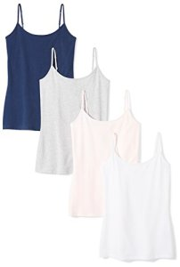 Amazon Essentials 4-Pack Camisole tank-top-and-cami-shirts, Navy Pink/White/Light Grey Heather, US L (EU L – XL)