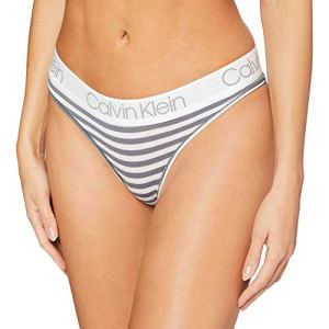 Calvin Klein Thong Tanga, Gris (Marching Stripe_Cinder OPX), (Taille Fabricant: Small) Femme