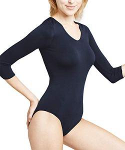 FALKE Body manches 3/4 col V Body Femme NA Bleu (Marine 6179) 44 (Taille fabricant: L 44-46)